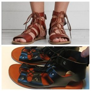 American Eagle Gladiator black lace up sandals